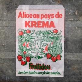 sachet ancien confiserie épicerie kréma alice au pays de fruitidou 1960 1970