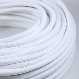 cable electrique couleur fil textile vintage tissu blanc rond coloré lampe luminaire