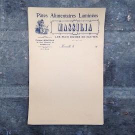 facture pates alimentaires massilia marseille 1920 ancien vintage