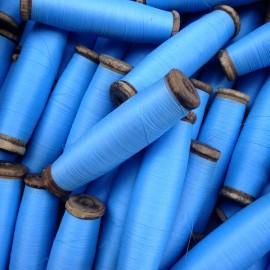 bobine fil bleu ciel ancien vintage  mercerie 1960 roquet bois