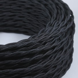 cable electrique fil textile vintage tissu noir torsadé
