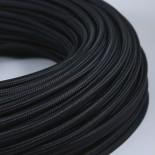 cable electrique fil textile vintage tissu noir rond