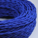 cable electrique fil textile vintage tissu bleu torsadé