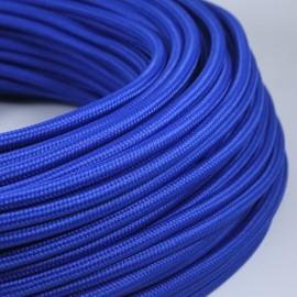 cable electrique fil textile vintage tissu bleu rond
