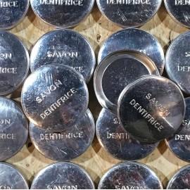 petite boite ronde aluminium métallique savon dentifrice 1930 1940 pharmacie