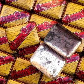boite métallique ancienne pastilles perret vintage 1930 1940 jaune rouge