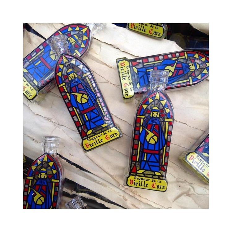 petit flacon la vieille cure décor église moine vitrail alcool 1950 1960 verre vintage
