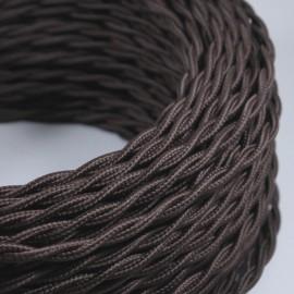 cable electrique fil textile vintage tissu marron torsadé