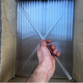 grand tube en verre 40cm ancien vintage verrerie creux