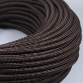 cable electrique couleur fil textile vintage tissu marron rond lampe luminaire style ancien coloré