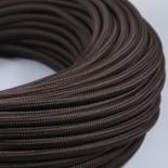 cable electrique fil textile vintage tissu marron rond