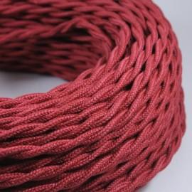 cable electrique fil textile vintage tissu bordeaux torsadé