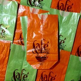sachet café grillé papier ancien vintage 125gr vert orange épicerie 1960 soufflet