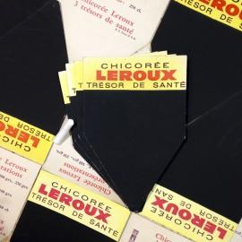 ardoise étiquette prix craie ancien vintage carton chicorée leroux épicerie 1960