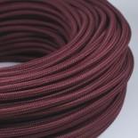 cable electrique fil textile vintage tissu bordeaux rond