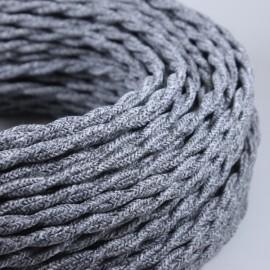 cable electrique fil textile vintage tissu gris jute torsadé