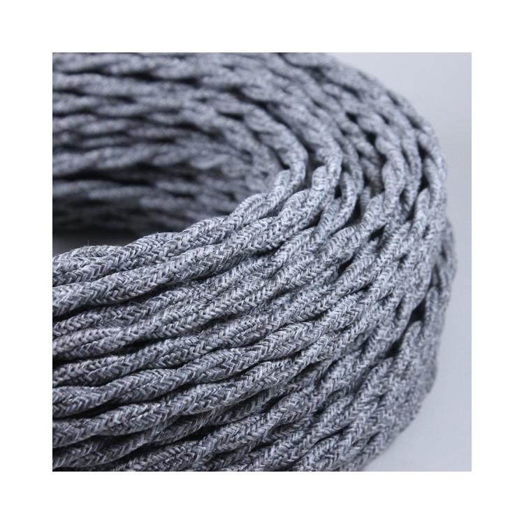 Cable Electrique Anthracite Textile Tissu Rond Normes CE 2*0,75mm Deco Wire