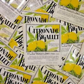 étiquette citronade bistrot bar ancien vintage papier 1940 bigallet