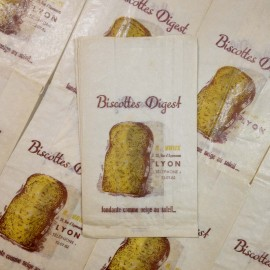 sachet biscottes digest ancien vintage papier épicerie 1960