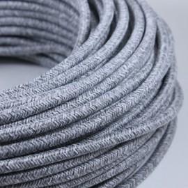cable electrique fil textile vintage tissu gris jute rond