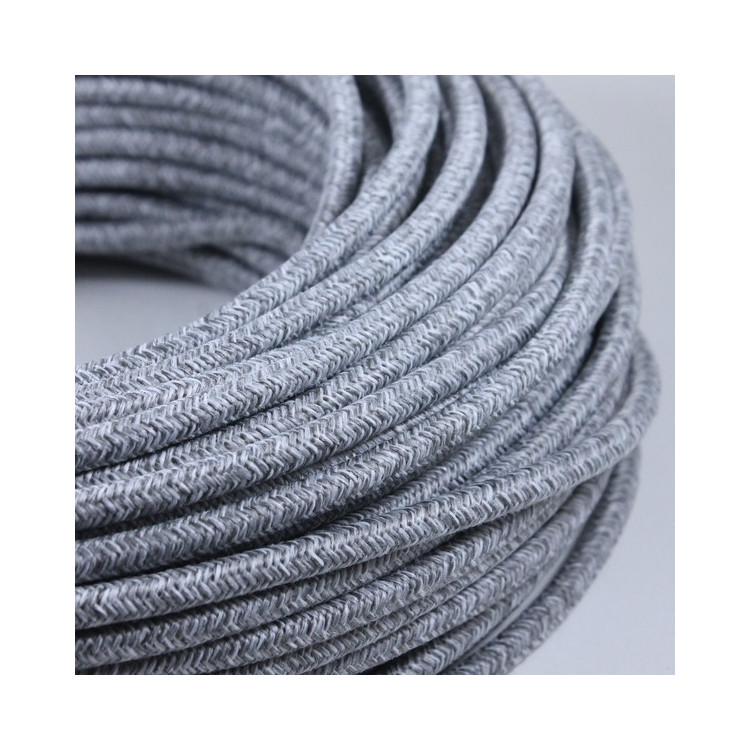 electric colored wire textile fabric electricity vintage decoration lamps lightning color grey canvas round