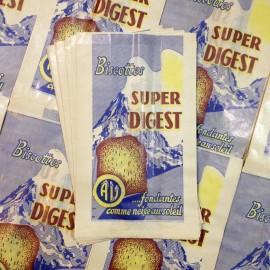 sachet biscottes digest ancien vintage papier épicerie 1960 bleu rayé
