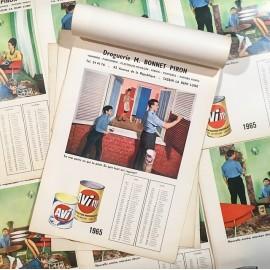 calendrier publicitaire peinture avi 1965 droguerie tassin vintage ancien