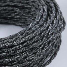 cable electrique fil textile vintage tissu anthracite torsadé