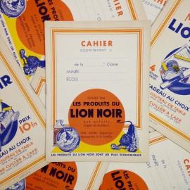cahier lion noir ancien papier vintage  épicerie 1950 école