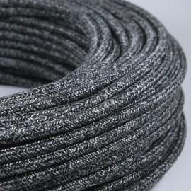 cable electrique fil textile vintage tissu anthracite rond