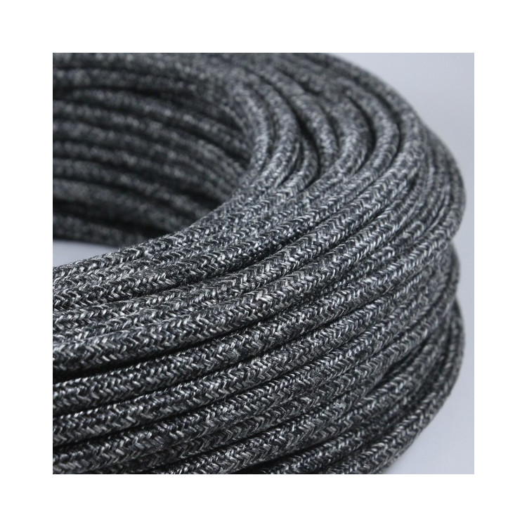 electric wire textile fabric electricity vintage decoration lamps lightning anthracite round
