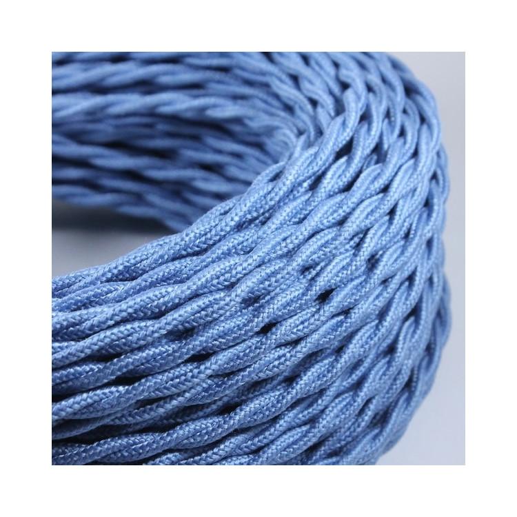 cable electrique fil textile couleur vintage tissu bleu clair jean torsadé lampe luminaire