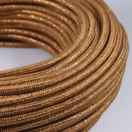 cable electrique couleur fil textile vintage tissu or doré brillant rond coloré luminaire lampe