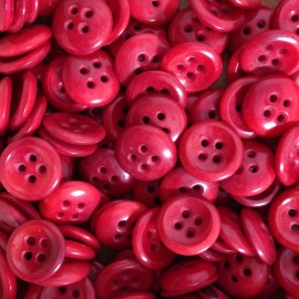 haberdashery button antique vintage corozo red curved 12mm