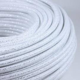 cable electrique fil textile vintage tissu blanc métal brillant rond