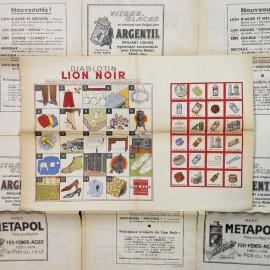 ancien jeu vintage papier diablotin lion noir épicerie 1950
