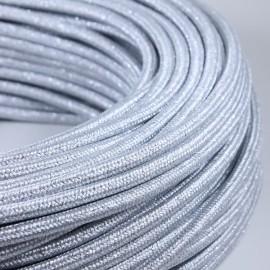 cable electrique fil textile vintage tissu argent métal brillant rond