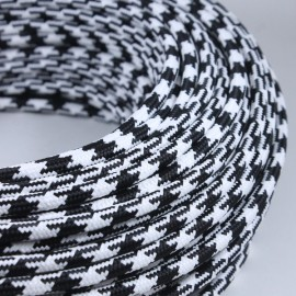cable electrique fil textile vintage tissu noir et blanc pied poule tache rond