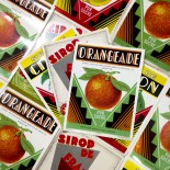 série 3 étiquettes ancien vintage papier  orangeade sirop citron fraise 1960