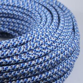 cable electrique fil textile vintage tissu pixel bleu chine rond
