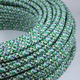 cable electrique fil textile vintage tissu pixel vert chine rond