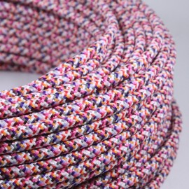 cable electrique fil textile vintage tissu pixel rose rond