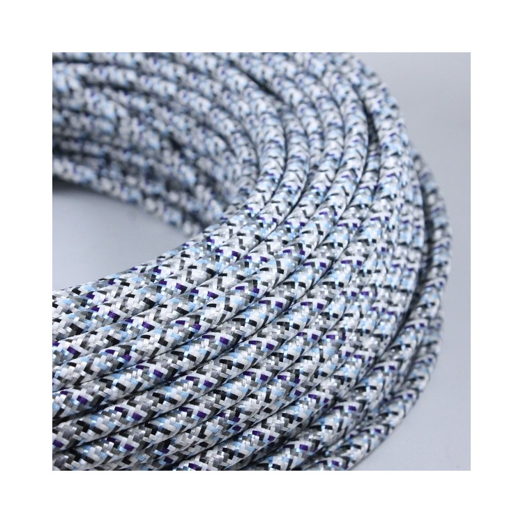 electric wire colored textile fabric electricity vintage decoration lamps lightning pixel grey white blue round color