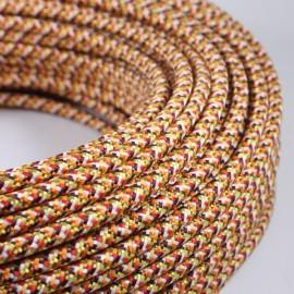 cable electrique fil textile vintage tissu pixel orange rond
