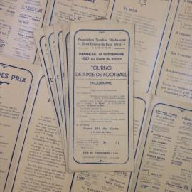 tournoi football foot dépliant papier ancien vintage imprimerie 1937