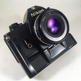 nikon em noir nikkor 50mm 1.8  series e appareil argentique ancien reflex auto motor drive