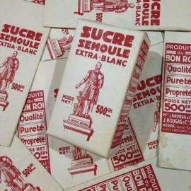 épicerie 1950 ancien vintage papier sucre semoule boite