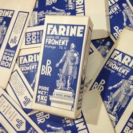 boite farine froment ancien papier vintage épicerie 1950
