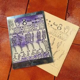school stamp antique vintage 1960 ink teaching