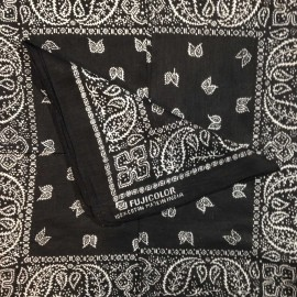 fujicolor noir bandana tissu textile ancien vintage magasin photo 1990